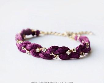 Plum / Braided Rhinestone Bracelet / Woven Bracelet / Braided Bracelet / Bridesmaid / Chain Bracelet / Friendship Bracelet / Plum Bracelet