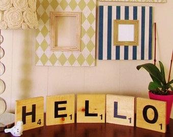 Large Scrabble Letters - Square Wood Scrabble Tiles in Natural Oak Color