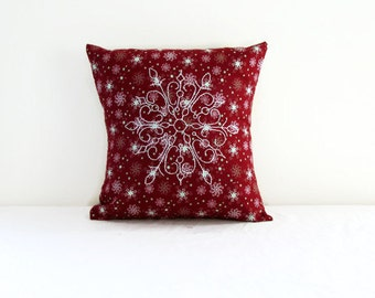 Small Christmas cushion cover, hand embroidered snowflake 12 inch pillow cover , festive holiday decor,, handmade in the UK