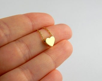 Small gold heart necklace, gold necklace, heart necklace, love necklace, children necklace kids necklace, initial necklace 234