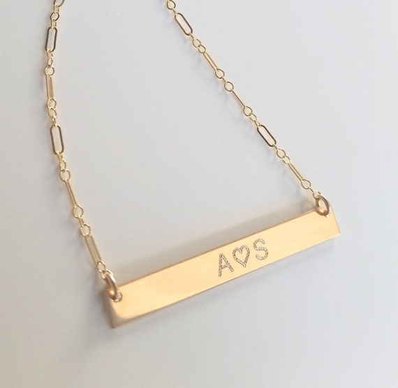 nameplate necklace personalized gold bar necklace initials