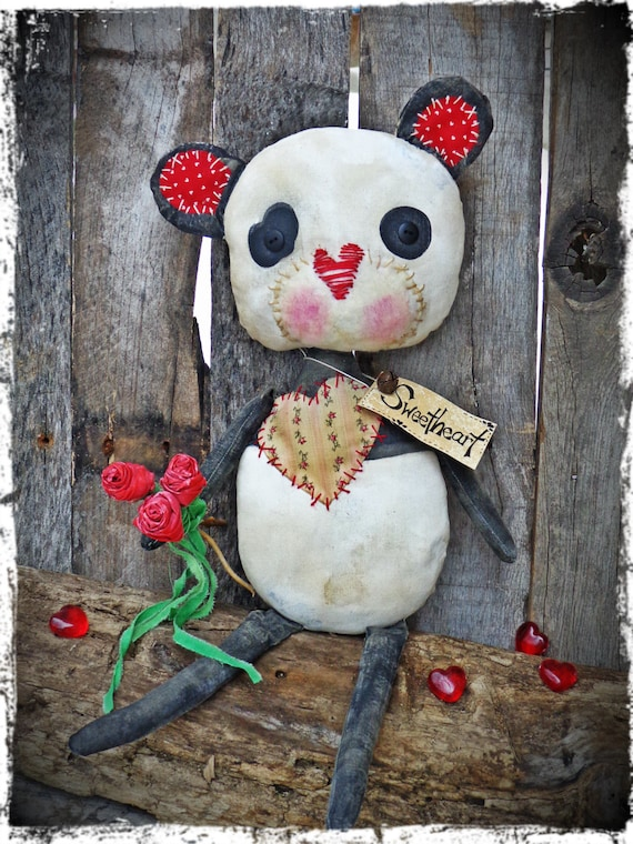 Primitive 19 Panda Bear With Roses Valentine By