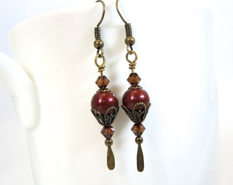 Burgundy earring, Edwardian earring pearl earring cranberry earring neo Victorian earring long drop earring filigree steampunk