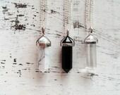 Necklace pendant natural gemstone black onyx, white turquoise, crystal rock quartz and silver plated, boho boho