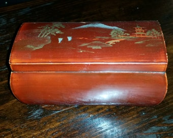 Hand Painted Lacquered Wood Japanese Bow Front Decorative Box