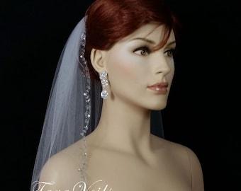 "1 Tier 28""x54"" Silver Embroidered Rhinestone Edge|White | Ivory | Bridal Veil |  Bridal Wedding Veil | 1 layer veil | Embroidered"