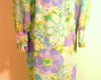 Vintage 1970s Empire Waist Maxi Dress Large Bold Floral (purple/blue yellow)