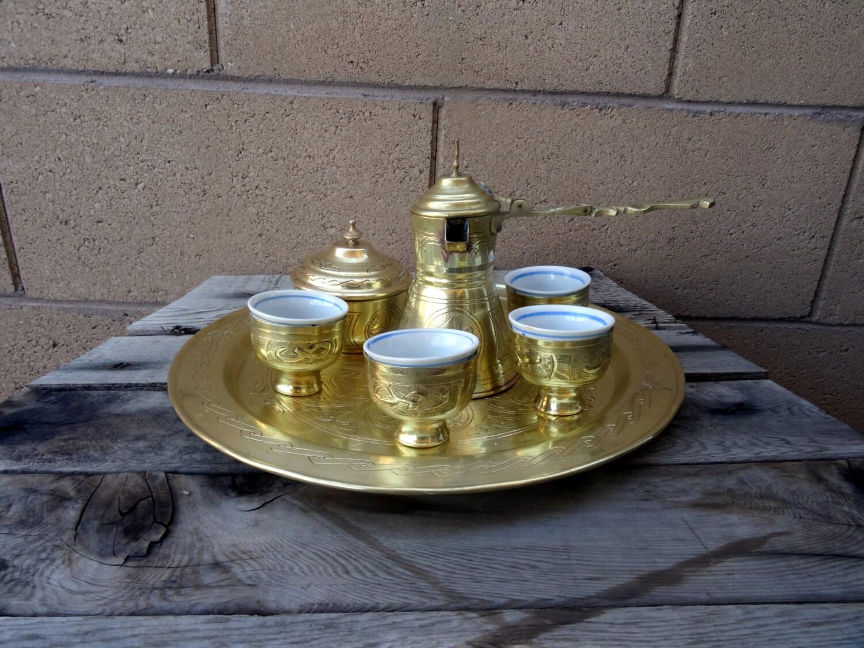 Brass Turkish Coffee Serving Set Arabic Design Brass Turkish
