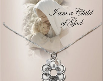 """Sterling Silver First Communion or Confirmation """"Child of God"""" Daisy Cluster Necklace 14"""", 16"""" or 18"""" (094)"""