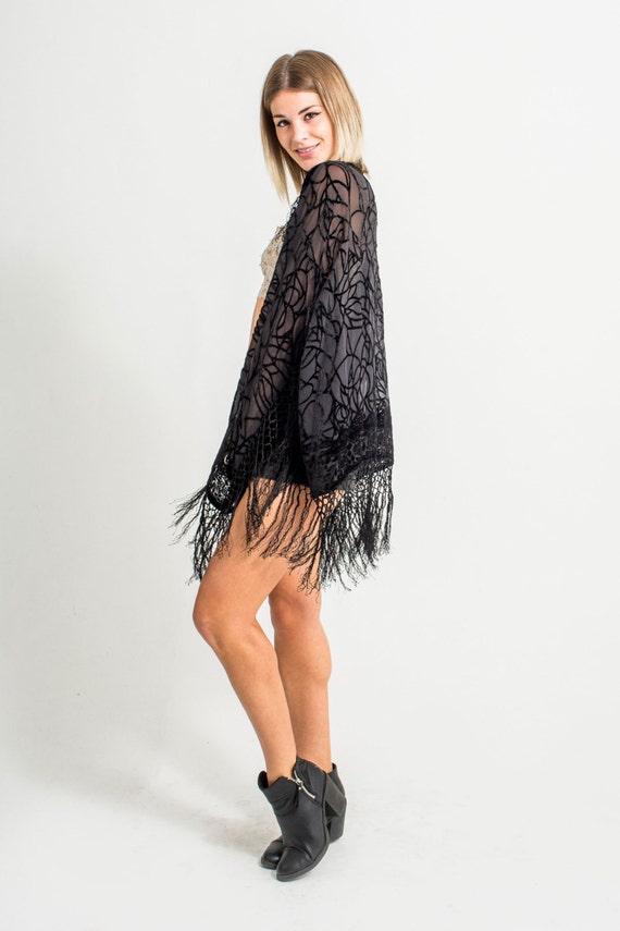 Velvet Fringe Kimono | Black Spider Web