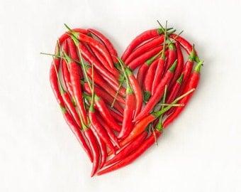 SALE - Canvas Print 8x8 square Red Chili Pepper Heart.