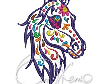 MACHINE EMBROIDERY DESIGN - Calavera horse, Dia de los muertos, Mexican design, Halloween design, Day of the dead