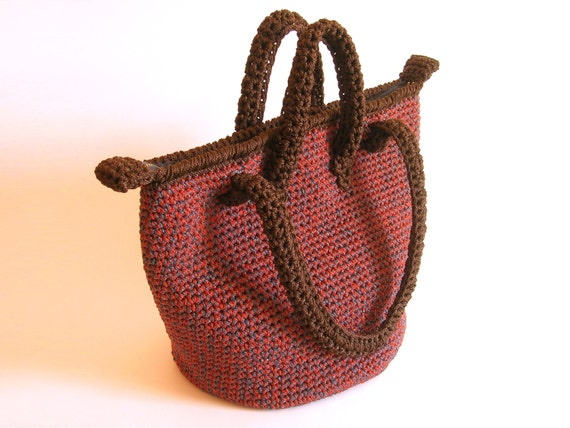 Crochet pattern for double handle bag. DIY, in one main seamless piece ...