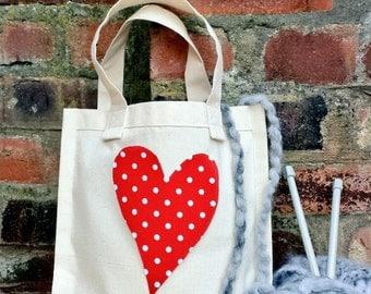 RED POLKA HEART Knitting Crochet Project Tote Shopping Canvas Bag Retro Handmade Fabric gift