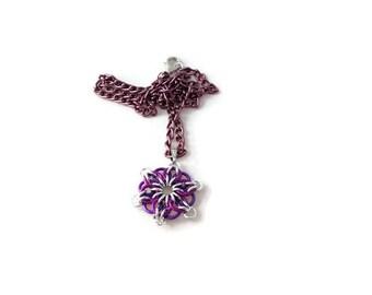 Purple Flower Pendant - Purple Chainmaille Pendant - Purple Necklace