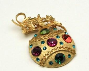 Vintage Retro Christmas Ornament Brooch Pin Gold Rhinestones Red Green 1960s