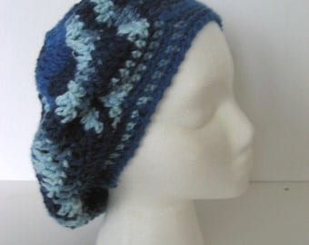 blue crochet hat , tam , slouchy , beret , variegated blue , chevron hat , blue star hat