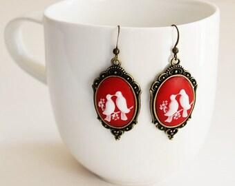 Love Birds Red White Cameo Earrings
