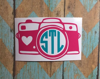 Camera Monogram Decal / camera / photography / photographer / personalization / heart / decal / pink /