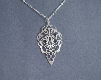 Damask Grapevine - 925 Sterling Silver Hand Cut Pendant, Necklace
