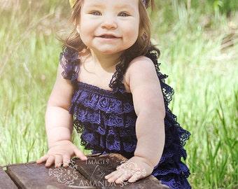 Navy Blue Lace Petti Romper-Lace Baby Romper-Ruffle Romper-Lace Romper-Petti Romper-Baby Outfit-Shabby Chic Petti Romper-Navy Romper