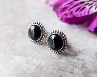 Black Onyx Stud Earrings, Sterling Silver Stud Earrings, Black Stone Stud Earrings, Gemstone Stud Earrings, Dainty Everyday Earrings