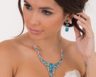 Something blue necklace and earring set