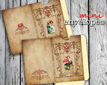 VALENTINE - Printable 2 Mini Envelopes Journal pockets Download Digital Collage Sheet  - Print and Cut