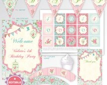 Shabby Chic - pink editable printable party decoration package - INSTANT DOWNLOAD - A4 & LETTER