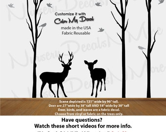 Deer Wall Stickers, Vinyl Tree Decal, Dead Tree Stickers (Black T79_D79_B77_B76) Dead_Nature_Tree Deer NTD