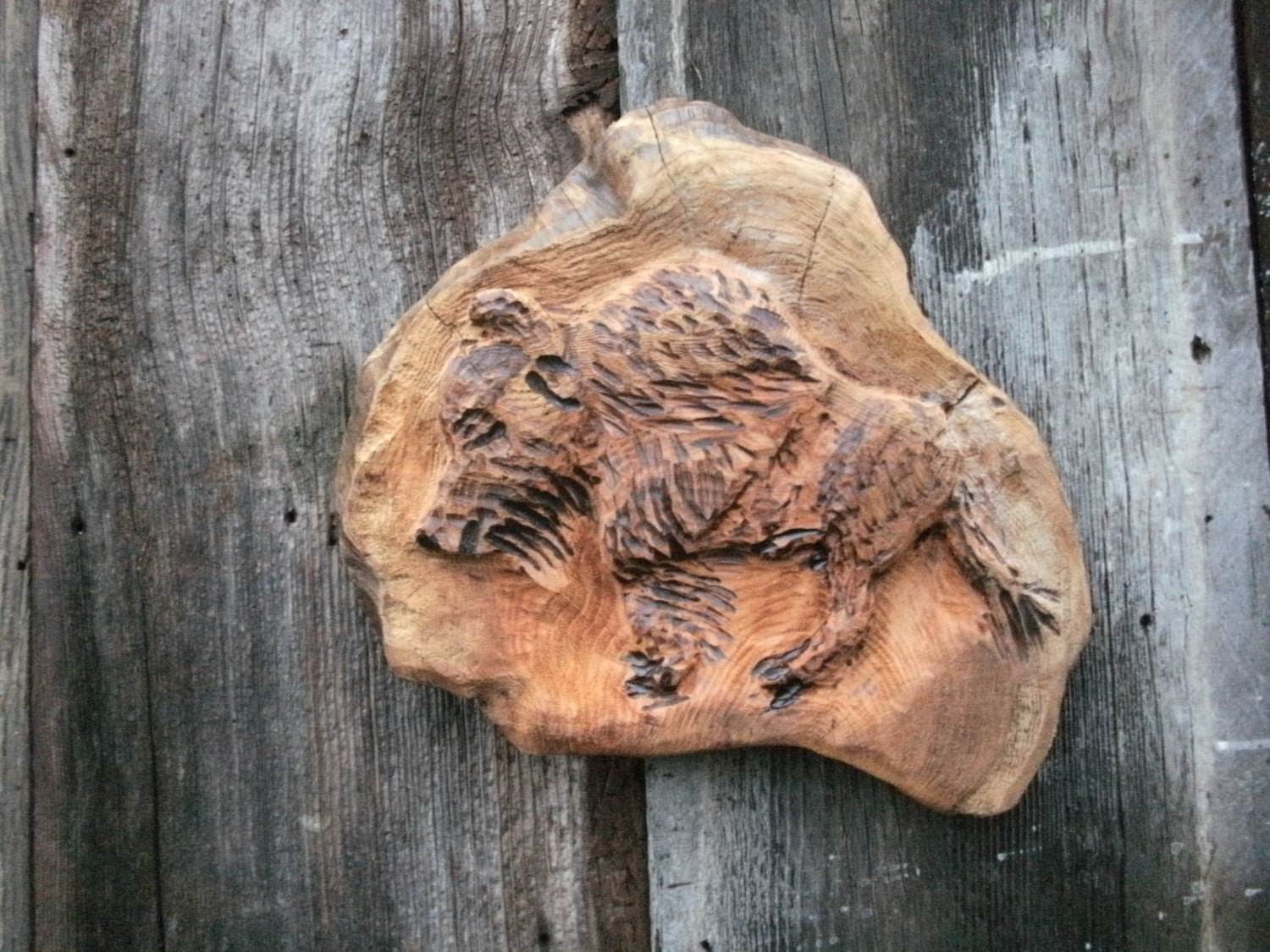 Buffalo carved in maple