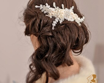 JACQUELINE- Bridal Headpiece Wedding Hair Piece  Hair Flowers Ivory  Flower Pearl Hair Comb Swarovski  Lace Headpiece Ivory Hair Flowers,UK