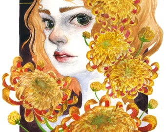 Chrysanthemum Flower and Girl Art Prints Poster - 11in X 17in