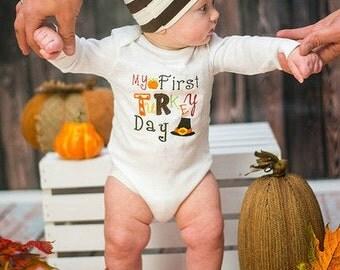My first thanksgiving baby boy embroidered bodysuit turkey shirt