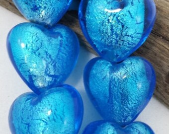 Silver Foil Blue Glass Heart  Beads, (19 x 24 mm) String of 6