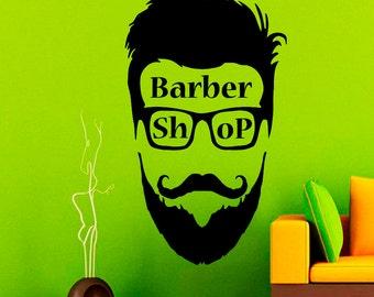 Wall Decals Barber Shop Hipster Decal Vinyl Sticker Home Beauty Hairdressing Salon Hipster Face Barber Shop Art Decor Murals Interior NA260
