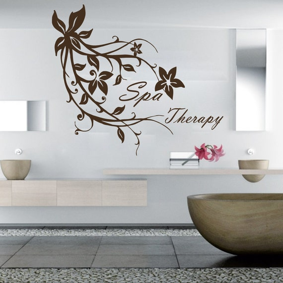 Wall decals spa therapy flowers branch decal vinyl sticker spa for Stickers salon