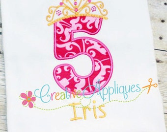 Princess Crown Birthday  Number 5 Machine Embroidery Applique Design 4 Sizes, fifth birthday applique, 5th birthday applique, 5 crown