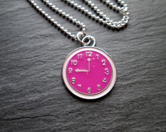 Pink Enameled Clock Charm Necklace