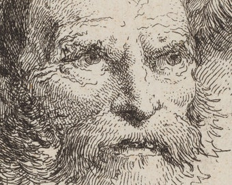 Old Man Meditating, Italian Master Etching Print