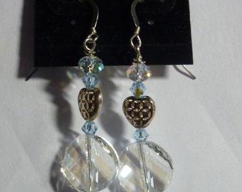 "BEEutiful Swarovski Crystal ""Twist"" and Silver Heart  Wedding Earrings -- ""Something Blue"""
