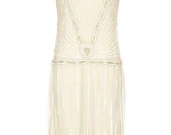 PETITE Length Charleston off white Vintage 20s inspired Uk4 Us0 Aus4 to Uk20 Us16 Aus20 Grerat Gatsby Flapper Rehearsal Dinner Wedding Dress