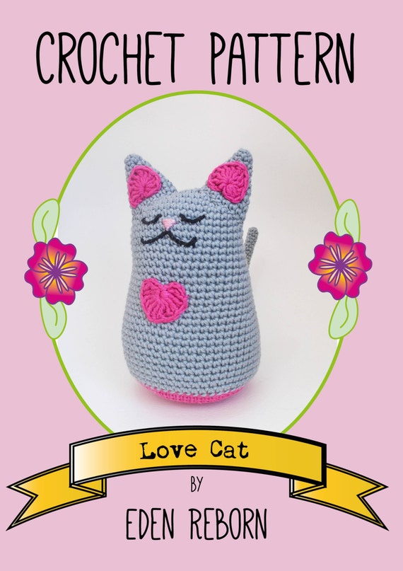 Amigurumi Love Tutorial : Amigurumi Love Cat Crochet Pattern US Version Instant PDF