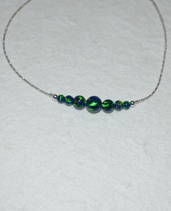 Opal Bracelet, Tiny Dot Bracelet, Small Opal Ball Gold Bracelet, blue opal charm, dainty opal beads horizontal bar bracelet, opal jewelry