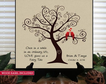 SKFT Personalized Wedding Gift for Couples Gift for Her Him Newlywed Engagement Anniversary Gift, Love Birds Wedding Family Tree Wood Sign