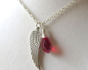 Angel Wing Burgundy Awareness Loss Pendant Necklace