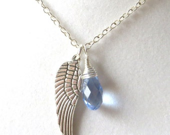 Angel Wing Periwinkle Awareness Loss Pendant Necklace