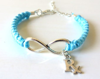 Rx Pharmacist Infinity Charm Bracelet You Choose Your Cord Color(s)