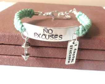 No Excuses I Choose Strength Weight Lifting Bodybuilding Barbell Charm Bracelet You Choose Your Cord Color(s)