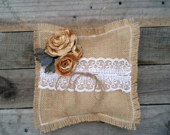 Burlap Ring Bearer Pillow with Lace and Flowers, Burlap Pillow, Burlap Wedding Pillow, Rustic Wedding Decor, Shabby Chic Country Wedding